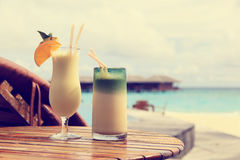 Two cocktails on beach vacation Royalty Free Stock Photography