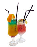 Two cocktails decorated with citrus apple and mint isolated over stock photo