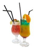 Two cocktails decorated with citrus apple and mint isolated over Stock Images