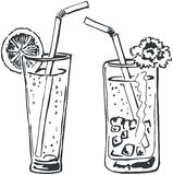 Two cocktails doodle Royalty Free Stock Image