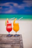 Two cocktails: fresh watermelon and mango on the Royalty Free Stock Images
