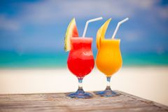 Two cocktails: fresh watermelon and mango on the Royalty Free Stock Image