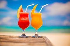 Two cocktails fresh watermelon and mango on Royalty Free Stock Images
