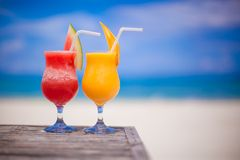 Two cocktails fresh watermelon and mango on Stock Photo