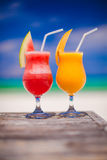Two cocktails fresh watermelon and mango on Royalty Free Stock Photos