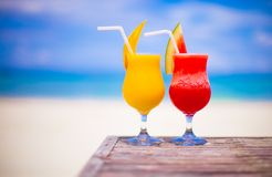 Two cocktails fresh watermelon and mango on Royalty Free Stock Image