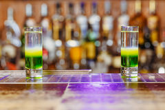 Two cocktails green mexican at the bar Royalty Free Stock Photos