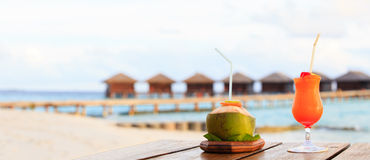 Two cocktails on luxury beach resort, panorama Stock Photo