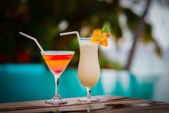 Two cocktails on luxury beach resort,luxury travel stock photo