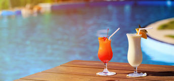 Two cocktails on luxury tropical beach Stock Images