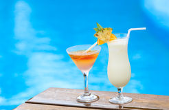Two cocktails on luxury tropical beach Royalty Free Stock Images