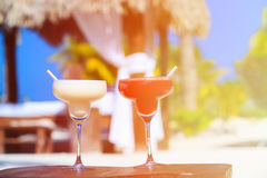 Two cocktails on luxury tropical beach Royalty Free Stock Image