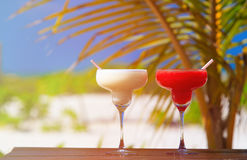 Two cocktails on luxury tropical beach Stock Image