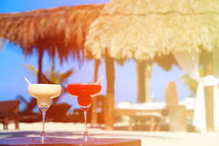 Two cocktails on luxury tropical beach Royalty Free Stock Photo
