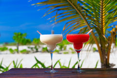 Two cocktails on luxury tropical beach Stock Photos