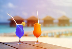 Two cocktails on luxury tropical resort Stock Images