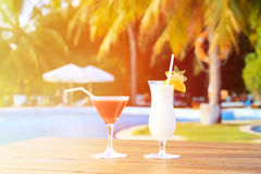 Two cocktails on luxury tropical vacation Royalty Free Stock Photo