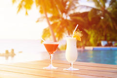 Two cocktails on luxury tropical vacation Royalty Free Stock Image
