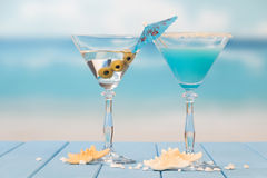 Two cocktails on the sea Stock Photos