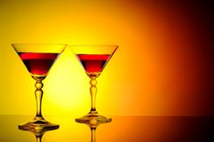 Two cocktails at sunset Royalty Free Stock Photos