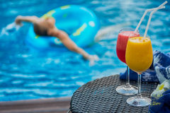 Two cocktails beside swimming pool. Woman in background. Two cocktails yellow and red beside swimming pool. Woman in swim ring blurred in background. Spa, travel Stock Image