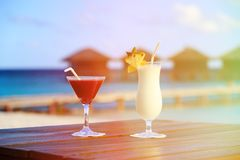 Two cocktails on tropical beach Stock Photography
