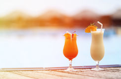 Two cocktails on tropical beach resort Royalty Free Stock Image
