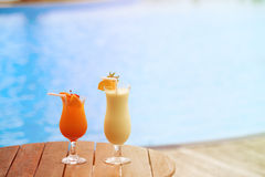 Two cocktails on tropical beach resort Royalty Free Stock Photos