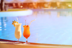 Two cocktails on tropical beach resort Royalty Free Stock Photo