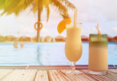 Two cocktails on tropical beach resort Stock Photo