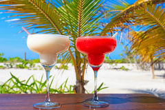 Two cocktails on tropical vacation Royalty Free Stock Photo