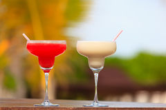 Two cocktails on tropical vacation Royalty Free Stock Images