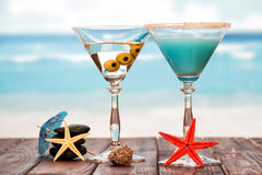 Two cocktails with umbrellas Royalty Free Stock Image