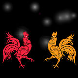 Two cocky rooster, red and yellow on a background of cock constellation . Chinese Horoscope - Rooster. Chinese New Year. Stock Photo