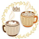 Two cocoa cups with mini marshmallows, knit sleeve. Round leafs frame. Vector illustration isolated on white background Stock Photography