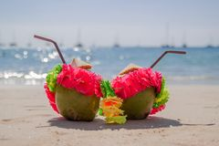 Two coconut cocktails on white sand beach. Vacation and travel concept. royalty free stock photography