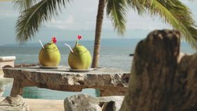 Two coconut drinks on wooden table in front of infinity swimming pool and ocean. Two coconut drinks on wooden table in front of infinity swimming pool looking at stock footage