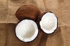 Coconuts on cloth background Stock Photo