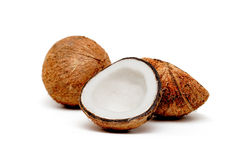 Two coconuts, one cracked Royalty Free Stock Photography
