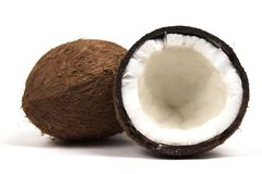 Two coconuts wide with plain side. Two coconuts isolated on white with plain side Royalty Free Stock Image