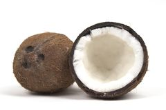 Two coconuts wide with three divits. Two coconuts isolated on white with trademark three notches Stock Images