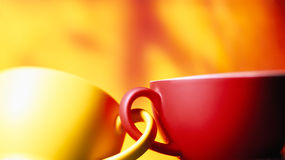 Two  coffee cups attached Royalty Free Stock Images