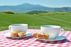 Two coffee cups and cantuccini Stock Photography