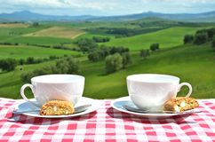 Two coffee cups and cantuccini on the table Royalty Free Stock Photos
