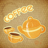 Two coffee cups and coffee pot Stock Image