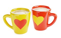 Two Coffee Cups, 3d render. Two coffee cups with heart-shaped ornament, isolated 3d render stock illustration