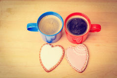 Two coffee cups and heart cookies, romantic morning. And valentine concept Stock Photo