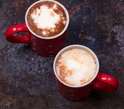 Two coffee cups for lovers prepare for morning coffee with copy blank space Royalty Free Stock Images