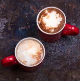 Two coffee cups for lovers prepare for morning coffee with copy blank space Stock Photos