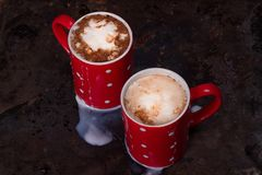Two coffee cups for lovers prepare for morning coffee with copy blank space Royalty Free Stock Photos